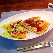 簡単パンケーキアレンジ★オムレツサンドパンケーキ