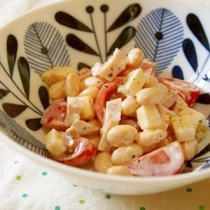 市販のサラダチキンと♪大豆トマトサラダ♪