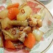 鶏と根菜のピリ辛煮
