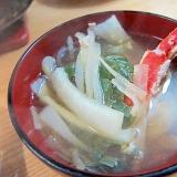 白菜葱ズワイ蟹しらたき鍋つゆスープ