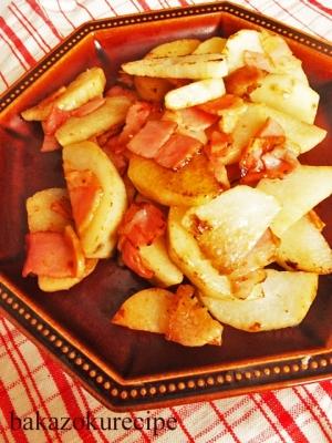 山芋とベーコンの塩炒め