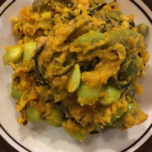 かぼちゃとひじきと枝豆の味噌サラダ