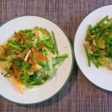 さくらしめじとゴーヤと卵のカレー素麺チャンプルー