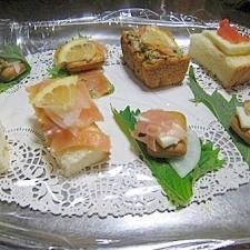 色々カナッペ&逆カナッペ♪乾パンetc手巻き寿司風