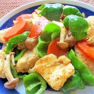 鶏むね肉と野菜のウスター炒め