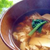 豆腐とほうれん草のふわふわ卵とじスープ