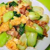 チンゲン菜と豚肉の卵あん炒め