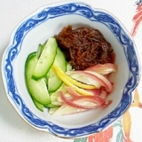 胡瓜、茗荷、もずくの和え物