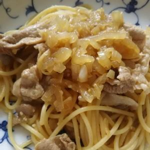 玉ねぎと豚肉のパスタ(^^)