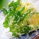 丸ごとゴーヤと葉っぱの天ぷら