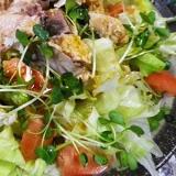 鮭缶で亜麻仁油山椒サラダ