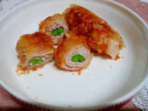 豚カツ☆アスパラチーズ巻き