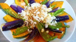 カラフル夏野菜としらすの揚げびたし♪