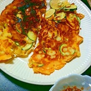 ズッキーニを使って韓国風卵焼き