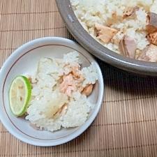 土鍋で海鮮釜飯風。干しエノキ茶+で濃厚
