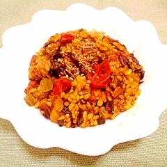 カレー風味♪高菜入り玄米炒飯
