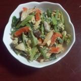 ブロッコリーの茎とほうれん草の卵炒め