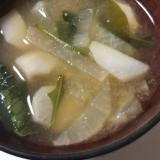里芋と大根とほうれん草の味噌汁