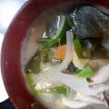 人参と玉ねぎとわかめの味噌汁