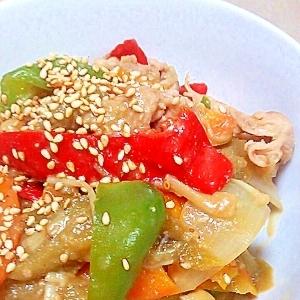 たっぷりの野菜で☆豚肉とナスの味噌煮☆
