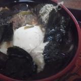 卵シイタケねぎと海苔とろろ昆布おかか蕎麦