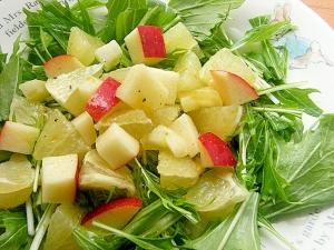 水菜でフルーツサラダ♪(グレープフルーツ&林檎)
