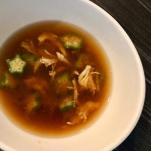 鍋を使わず☆ささみとオクラの味噌汁