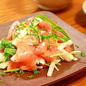 スモークサーモンと水菜のサラダ