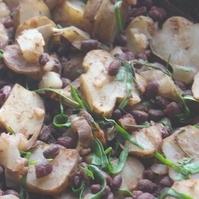 菊芋とニラと小豆の煮物