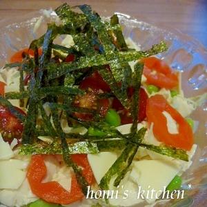 千切りキャベツと水切り豆腐のサラダ