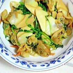 白貝と豆苗の炒め物
