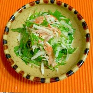 大根と水菜とカニカマのゴマにんにくサラダ♪