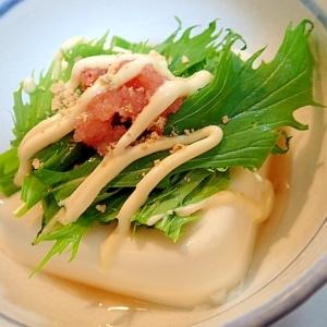 かつおだし&生姜マヨで 水菜と辛子明太子の冷奴♬