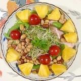 レタス 、パイン、ミニトマトのサラダ
