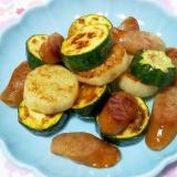 ズッキーニと長芋とソーセージのガーリック炒め++