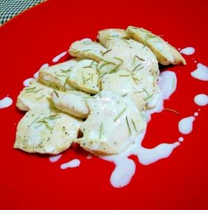 鶏むね肉のオリーブオイル漬け❀ヨーグルトソースで