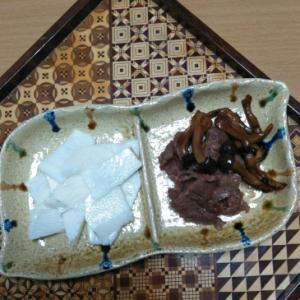山芋と牛肉のおつまみ、2品