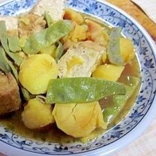 じゃが芋、厚揚げ、モロッコインゲンの麺つゆ煮
