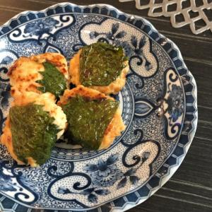 お弁当に☆味噌マヨ鶏つくねの大葉巻き