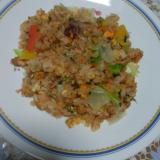 鮭フレークのレタス炒飯 オイスターソース