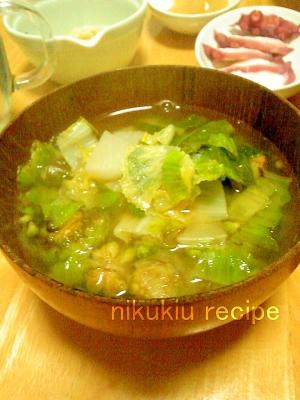 ふきのとう・白菜・野沢菜の味噌汁