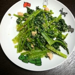 小松菜の明太子炒め