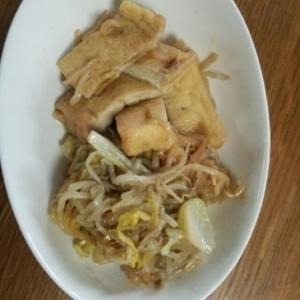 白菜ともやし、京揚げのすき煮