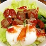 モコロコ風サイコロステーキ丼