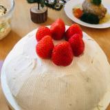 カステラでドームケーキ