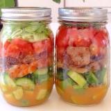 冷蔵で一週間保存可能!シーフードジャーサラダ!