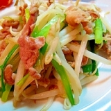 青唐辛子醤油でピリ辛ニラモヤシ炒め