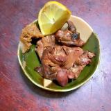 焼き鶏レバー@生姜みそ添え。