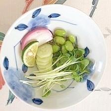 しその実、板蒲鉾、枝豆の和え物