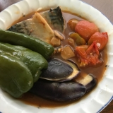 野菜たっぷり、サバのトマト煮